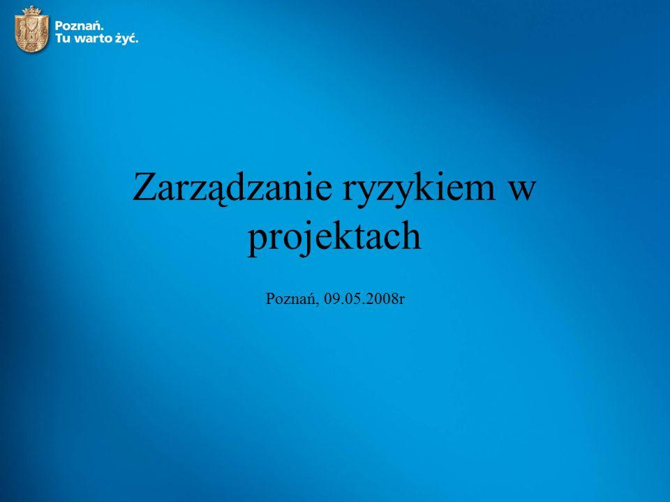 Zarządzanie ryzykiem w projektach Poznań, 09.05.2008r