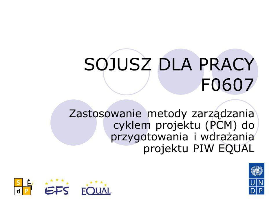 SOJUSZ DLA PRACY F0607 Zastosowanie metody zarządzania cyklem projektu (PCM) do przygotowania i wdrażania projektu PIW EQUAL