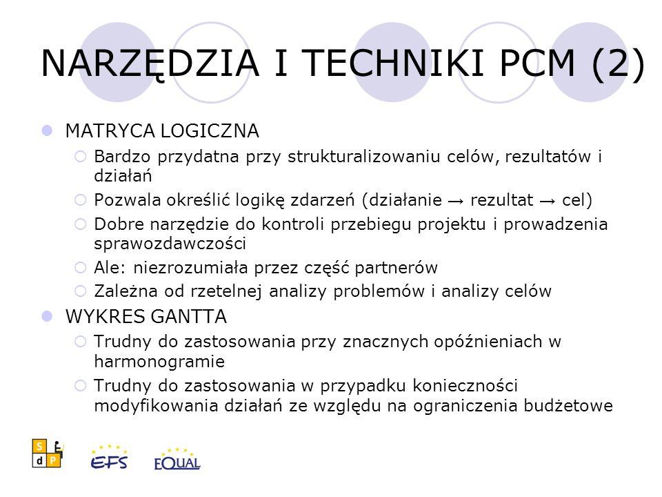 NARZĘDZIA I TECHNIKI PCM (2) MATRYCA LOGICZNA  Bardzo przydatna przy strukturalizowaniu celów, rezultatów i działań  Pozwala określić logikę zdarzeń