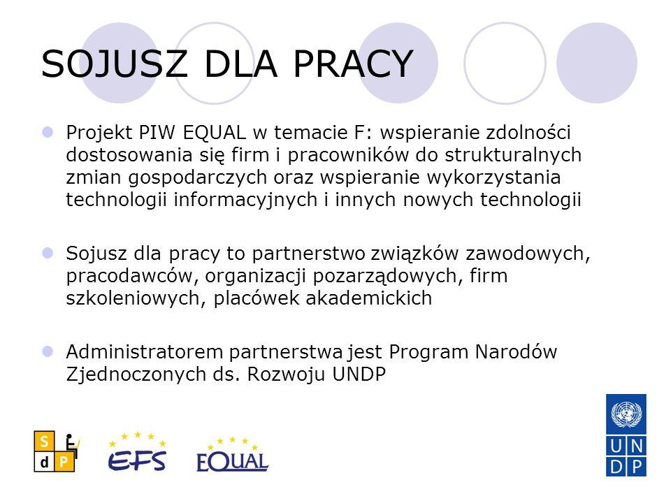 SOJUSZ DLA PRACY Projekt PIW EQUAL w temacie F: wspieranie zdolności dostosowania się firm i pracowników do strukturalnych zmian gospodarczych oraz ws