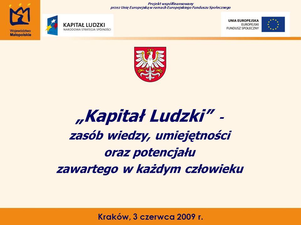 """""""Kapitał Ludzki"""" - zasób wiedzy, umiejętności oraz potencjału zawartego w każdym człowieku Kraków, 3 czerwca 2009 r. Projekt współfinansowany przez Un"""