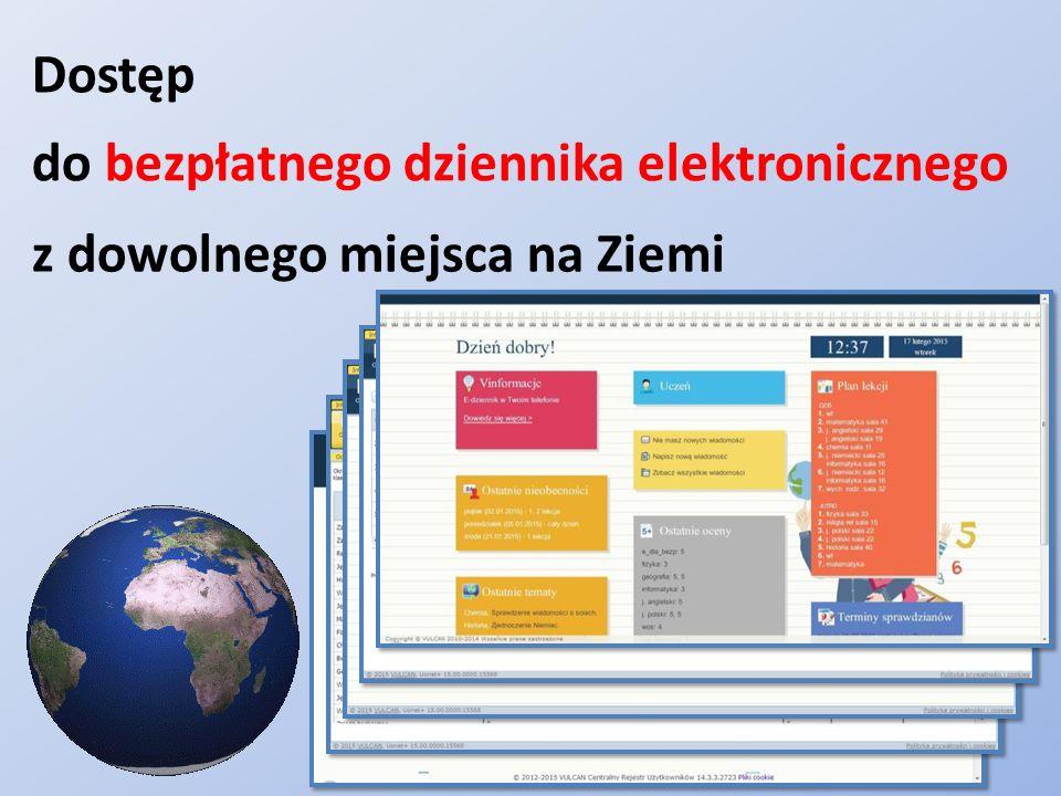Dostęp z dowolnego miejsca na Ziemi do bezpłatnego dziennika elektronicznego