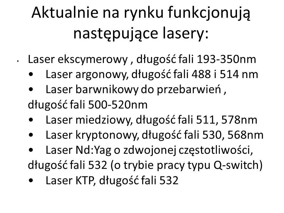 Aktualnie na rynku funkcjonują następujące lasery: Laser ekscymerowy, długość fali 193-350nm Laser argonowy, długość fali 488 i 514 nm Laser barwnikowy do przebarwień, długość fali 500-520nm Laser miedziowy, długość fali 511, 578nm Laser kryptonowy, długość fali 530, 568nm Laser Nd:Yag o zdwojonej częstotliwości, długość fali 532 (o trybie pracy typu Q-switch) Laser KTP, długość fali 532