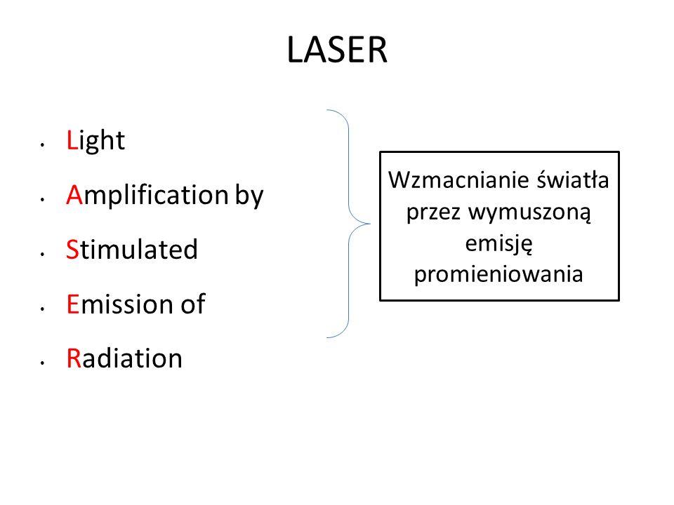 LASER Light Amplification by Stimulated Emission of Radiation Wzmacnianie światła przez wymuszoną emisję promieniowania