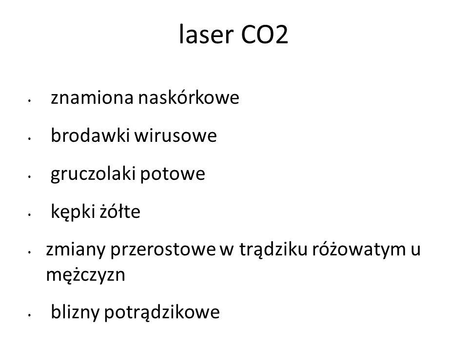 laser CO2 znamiona naskórkowe brodawki wirusowe gruczolaki potowe kępki żółte zmiany przerostowe w trądziku różowatym u mężczyzn blizny potrądzikowe