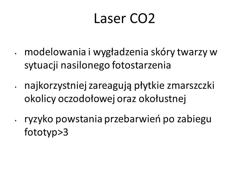 Laser CO2 modelowania i wygładzenia skóry twarzy w sytuacji nasilonego fotostarzenia najkorzystniej zareagują płytkie zmarszczki okolicy oczodołowej oraz okołustnej ryzyko powstania przebarwień po zabiegu fototyp>3