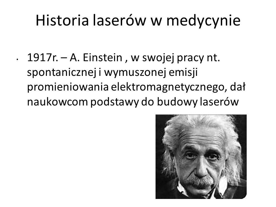 Historia laserów w medycynie 1917r.– A. Einstein, w swojej pracy nt.