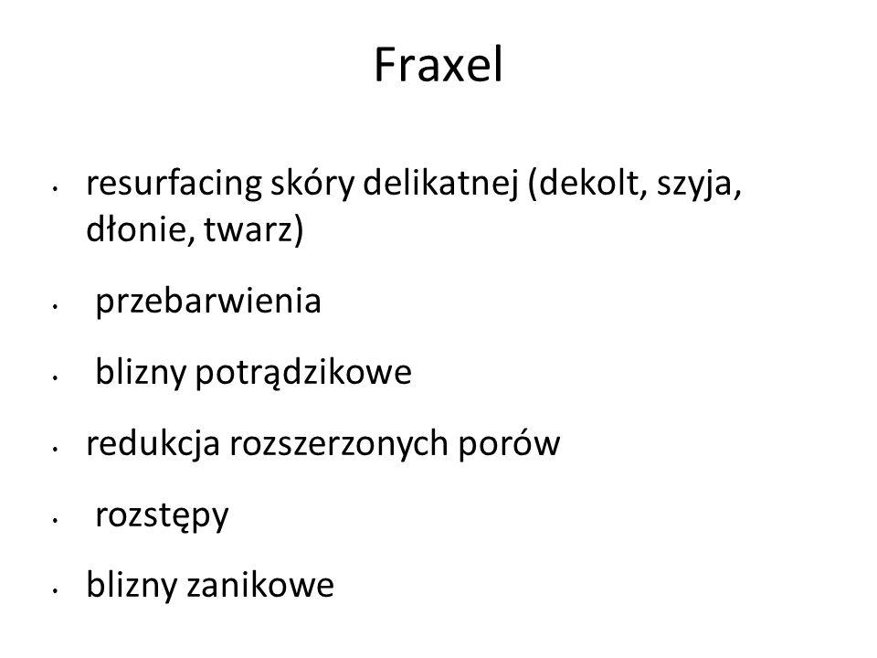 Fraxel resurfacing skóry delikatnej (dekolt, szyja, dłonie, twarz) przebarwienia blizny potrądzikowe redukcja rozszerzonych porów rozstępy blizny zanikowe