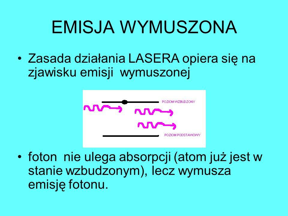 EMISJA WYMUSZONA Zasada działania LASERA opiera się na zjawisku emisji wymuszonej foton nie ulega absorpcji (atom już jest w stanie wzbudzonym), lecz wymusza emisję fotonu.