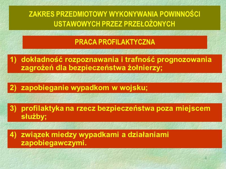 4 ZAKRES PRZEDMIOTOWY WYKONYWANIA POWINNOŚCI USTAWOWYCH PRZEZ PRZEŁOŻONYCH PRACA PROFILAKTYCZNA 1)dokładność rozpoznawania i trafność prognozowania zagrożeń dla bezpieczeństwa żołnierzy; 2)zapobieganie wypadkom w wojsku; 3)profilaktyka na rzecz bezpieczeństwa poza miejscem służby; 4)związek miedzy wypadkami a działaniami zapobiegawczymi.