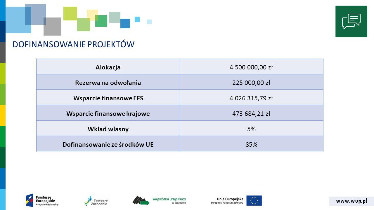 www.wup.pl DOFINANSOWANIE PROJEKTÓW Alokacja4 500 000,00 zł Rezerwa na odwołania225 000,00 zł Wsparcie finansowe EFS4 026 315,79 zł Wsparcie finansowe krajowe473 684,21 zł Wkład własny5% Dofinansowanie ze środków UE85%