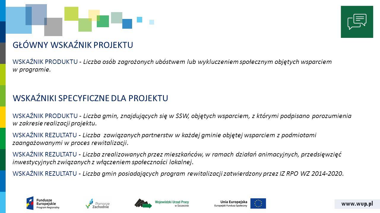 www.wup.pl GŁÓWNY WSKAŹNIK PROJEKTU WSKAŹNIK PRODUKTU - Liczba osób zagrożonych ubóstwem lub wykluczeniem społecznym objętych wsparciem w programie.