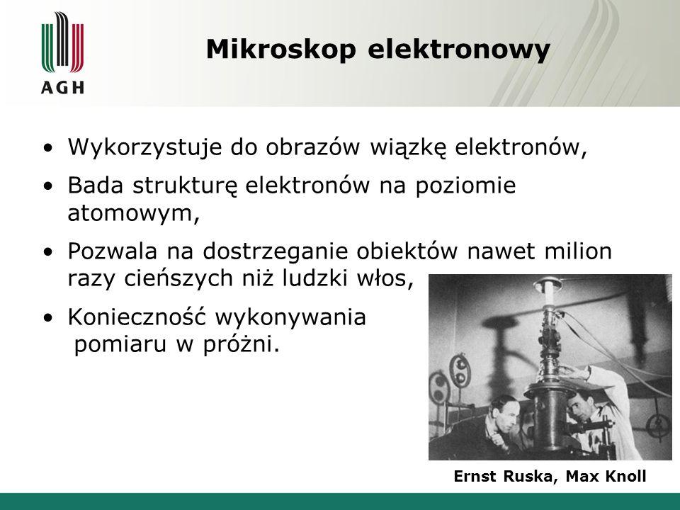 Mikroskop elektronowy Wykorzystuje do obrazów wiązkę elektronów, Bada strukturę elektronów na poziomie atomowym, Pozwala na dostrzeganie obiektów nawet milion razy cieńszych niż ludzki włos, Konieczność wykonywania pomiaru w próżni.