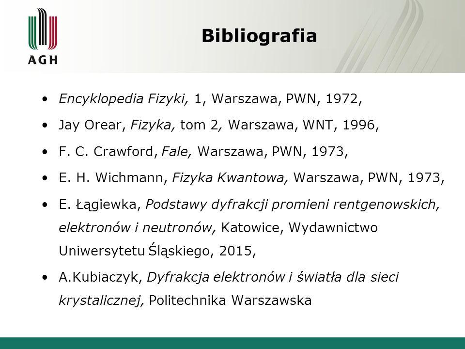 Bibliografia Encyklopedia Fizyki, 1, Warszawa, PWN, 1972, Jay Orear, Fizyka, tom 2, Warszawa, WNT, 1996, F. C. Crawford, Fale, Warszawa, PWN, 1973, E.