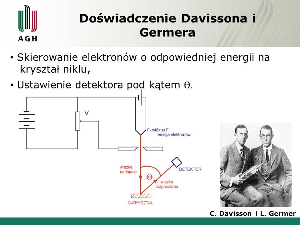 Doświadczenie Davissona i Germera Skierowanie elektronów o odpowiedniej energii na d kryształ niklu, Ustawienie detektora pod kątem Ɵ. C. Davisson i L