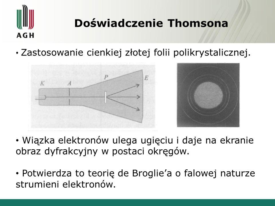 Doświadczenie Thomsona Zastosowanie cienkiej złotej folii polikrystalicznej. Wiązka elektronów ulega ugięciu i daje na ekranie obraz dyfrakcyjny w pos