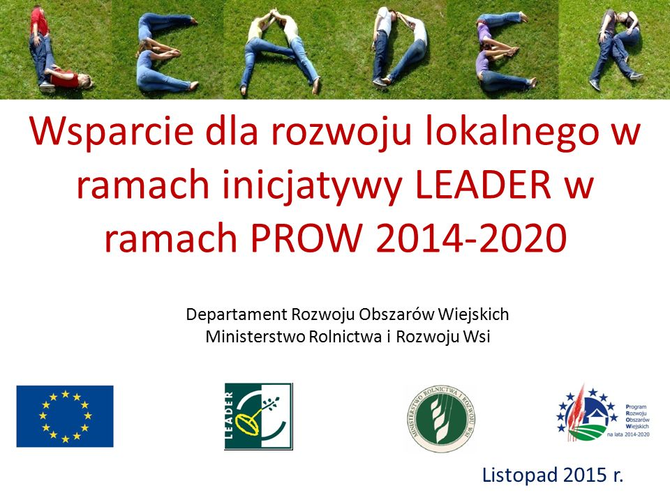 Wsparcie dla rozwoju lokalnego w ramach inicjatywy LEADER w ramach PROW 2014-2020 Listopad 2015 r. Departament Rozwoju Obszarów Wiejskich Ministerstwo