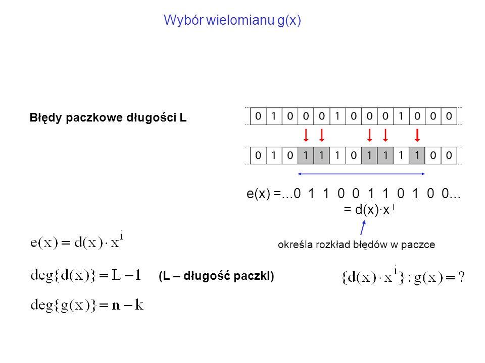 Błędy paczkowe długości L e(x) =...0 1 1 0 0 1 1 0 1 0 0...