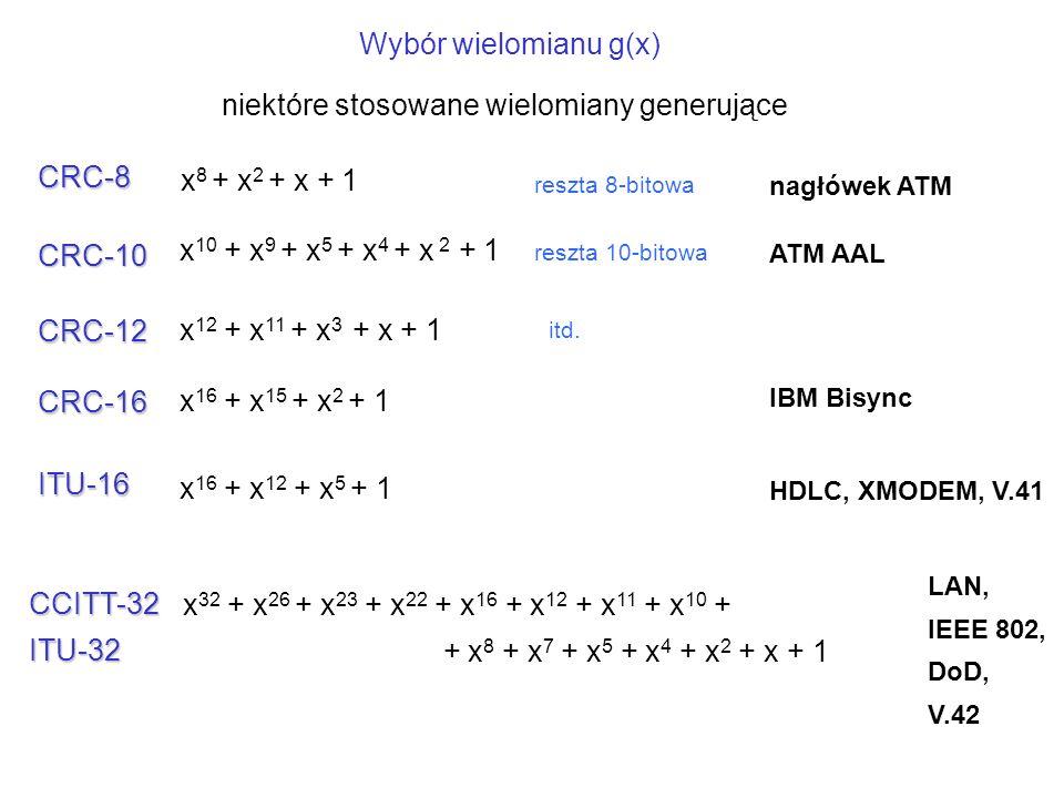 x 8 + x 2 + x + 1 x 10 + x 9 + x 5 + x 4 + x 2 + 1 x 16 + x 12 + x 5 + 1 x 32 + x 26 + x 23 + x 22 + x 16 + x 12 + x 11 + x 10 + + x 8 + x 7 + x 5 + x 4 + x 2 + x + 1 CRC-8 CRC-10 ITU-16 CCITT-32ITU-32 nagłówek ATM ATM AAL HDLC, XMODEM, V.41 LAN, IEEE 802, DoD, V.42 niektóre stosowane wielomiany generujące x 12 + x 11 + x 3 + x + 1 CRC-12 x 16 + x 15 + x 2 + 1 CRC-16 IBM Bisync Wybór wielomianu g(x) reszta 8-bitowa reszta 10-bitowa itd.