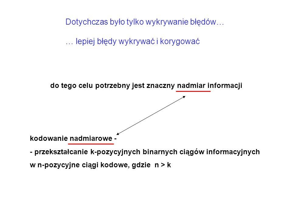 Dotychczas było tylko wykrywanie błędów… … lepiej błędy wykrywać i korygować do tego celu potrzebny jest znaczny nadmiar informacji kodowanie nadmiarowe - - przekształcanie k-pozycyjnych binarnych ciągów informacyjnych w n-pozycyjne ciągi kodowe, gdzie n > k