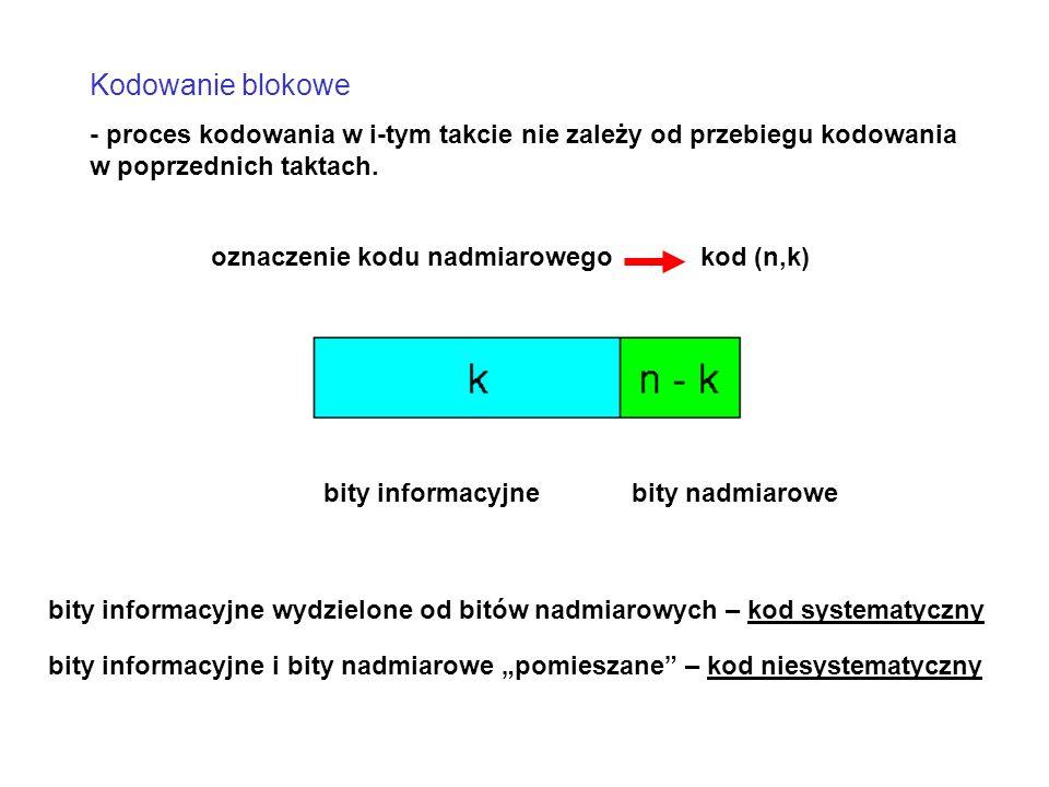 Kodowanie blokowe - proces kodowania w i-tym takcie nie zależy od przebiegu kodowania w poprzednich taktach.