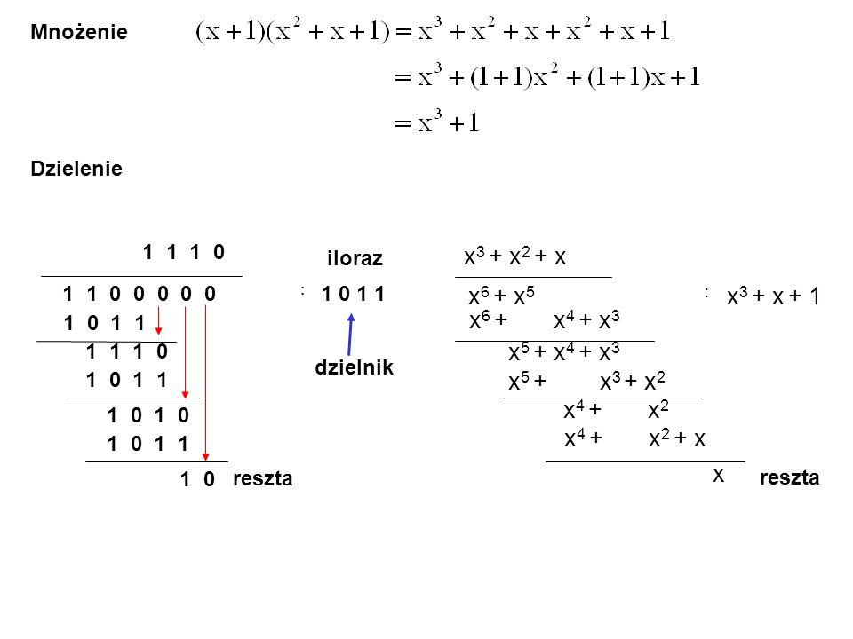 Mnożenie Dzielenie x 6 + x 5 : x 3 + x + 1 x 3 + x 2 + x x 6 + x 4 + x 3 x 5 + x 4 + x 3 x 5 + x 3 + x 2 x 4 + x 2 x 4 + x 2 + x x reszta 1 1 0 0 0 0 0 : 1 0 1 1 1 0 1 1 1 1 1 0 1 0 1 1 iloraz dzielnik 1 1 1 0 1 0 1 0 1 1 1 0 reszta