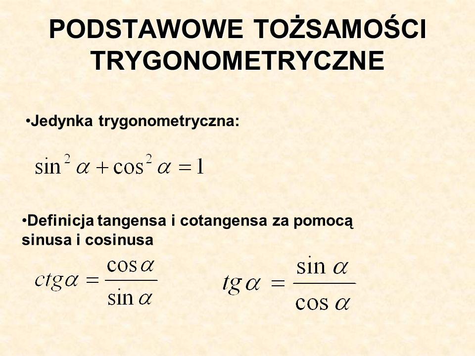 Definicja tangensa i cotangensa za pomocą sinusa i cosinusa Jedynka trygonometryczna: PODSTAWOWE TOŻSAMOŚCI TRYGONOMETRYCZNE