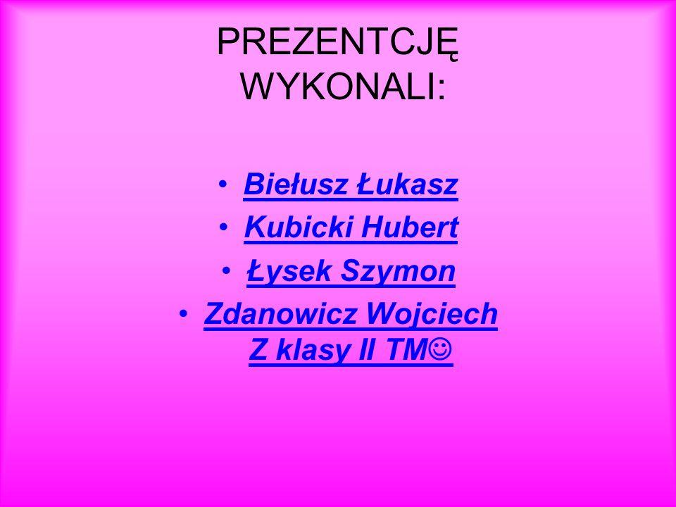 PREZENTCJĘ WYKONALI: Biełusz Łukasz Kubicki Hubert Łysek Szymon Zdanowicz Wojciech Z klasy II TM