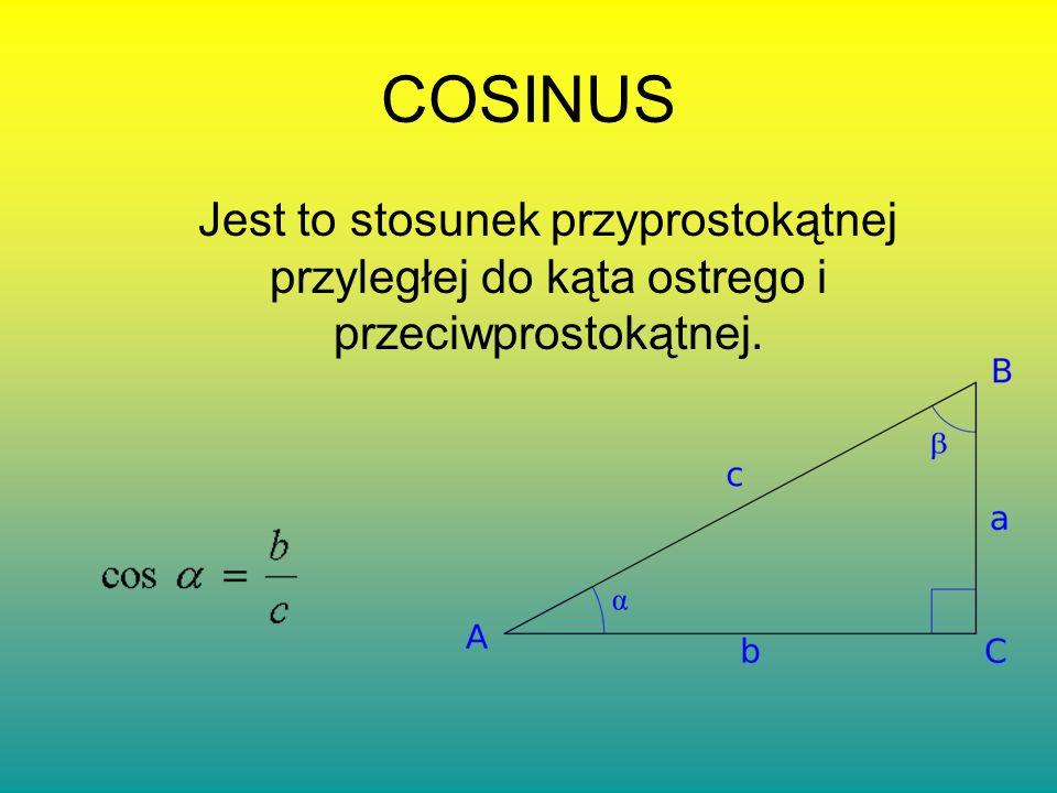 COSINUS Jest to stosunek przyprostokątnej przyległej do kąta ostrego i przeciwprostokątnej.