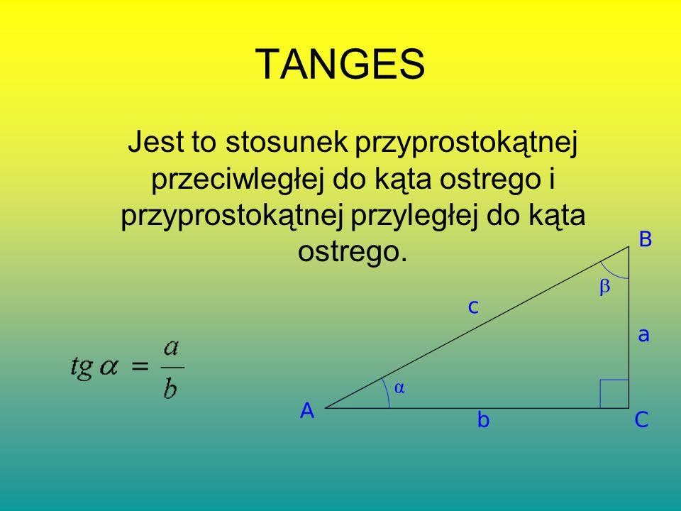 TANGES Jest to stosunek przyprostokątnej przeciwległej do kąta ostrego i przyprostokątnej przyległej do kąta ostrego.
