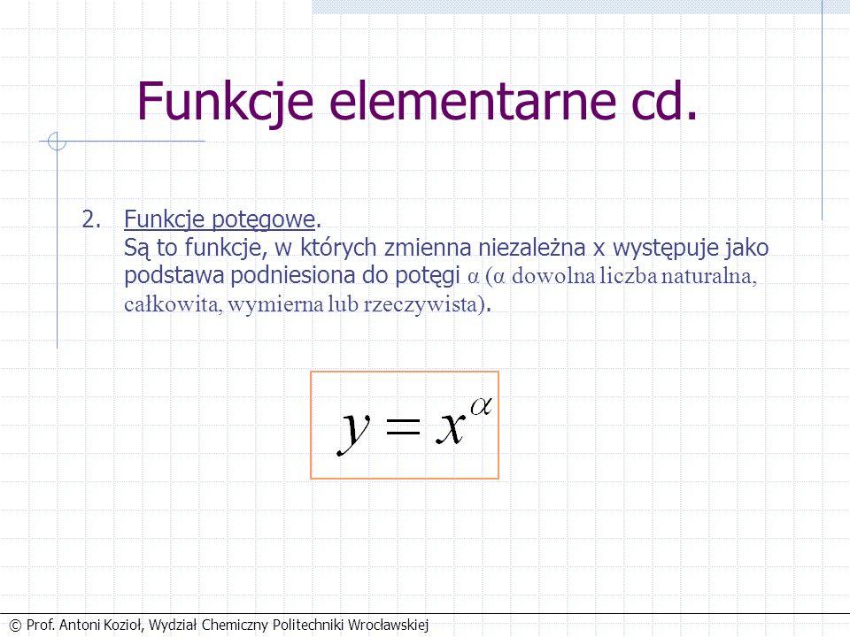 © Prof. Antoni Kozioł, Wydział Chemiczny Politechniki Wrocławskiej Funkcje elementarne cd.