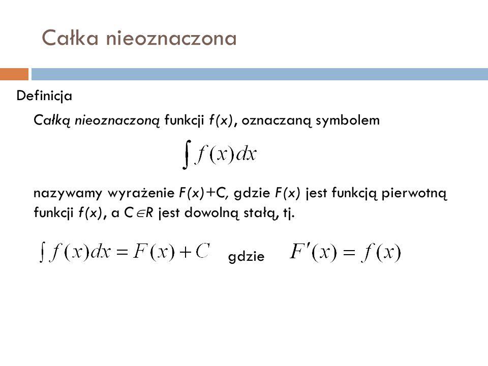 Całka nieoznaczona Definicja Całką nieoznaczoną funkcji f(x), oznaczaną symbolem nazywamy wyrażenie F(x)+C, gdzie F(x) jest funkcją pierwotną funkcji f(x), a C  R jest dowolną stałą, tj.