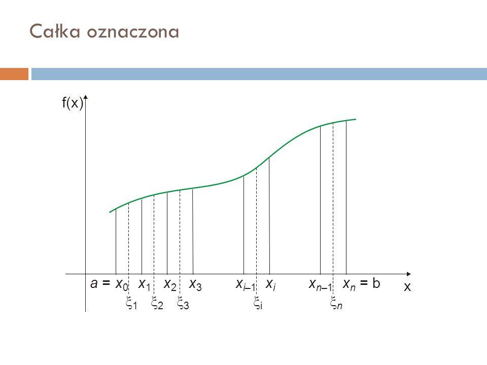 Całka oznaczona f(x) x a = x 0 x1x1 x2x2 x3x3 xixi x n = bx i–1 x n–1 11 22 33 ii nn