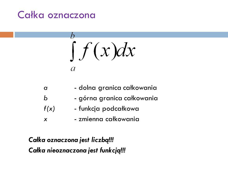 Całka oznaczona a- dolna granica całkowania b - górna granica całkowania f(x)- funkcja podcałkowa x- zmienna całkowania Całka oznaczona jest liczbą!!.