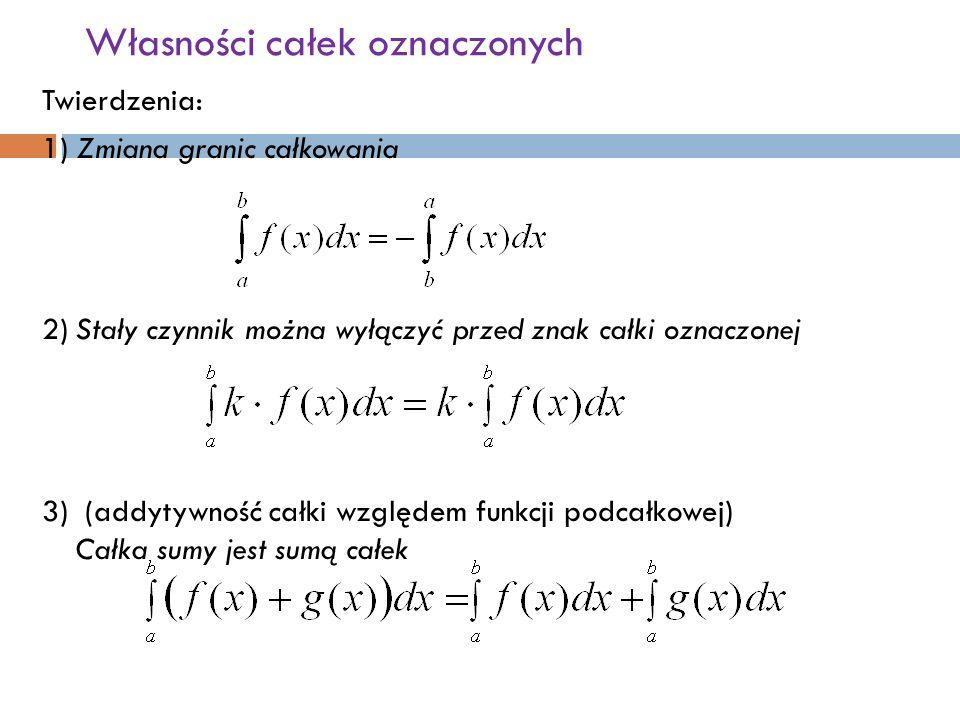 Własności całek oznaczonych Twierdzenia: 1) Zmiana granic całkowania 2)Stały czynnik można wyłączyć przed znak całki oznaczonej 3) (addytywność całki względem funkcji podcałkowej) Całka sumy jest sumą całek