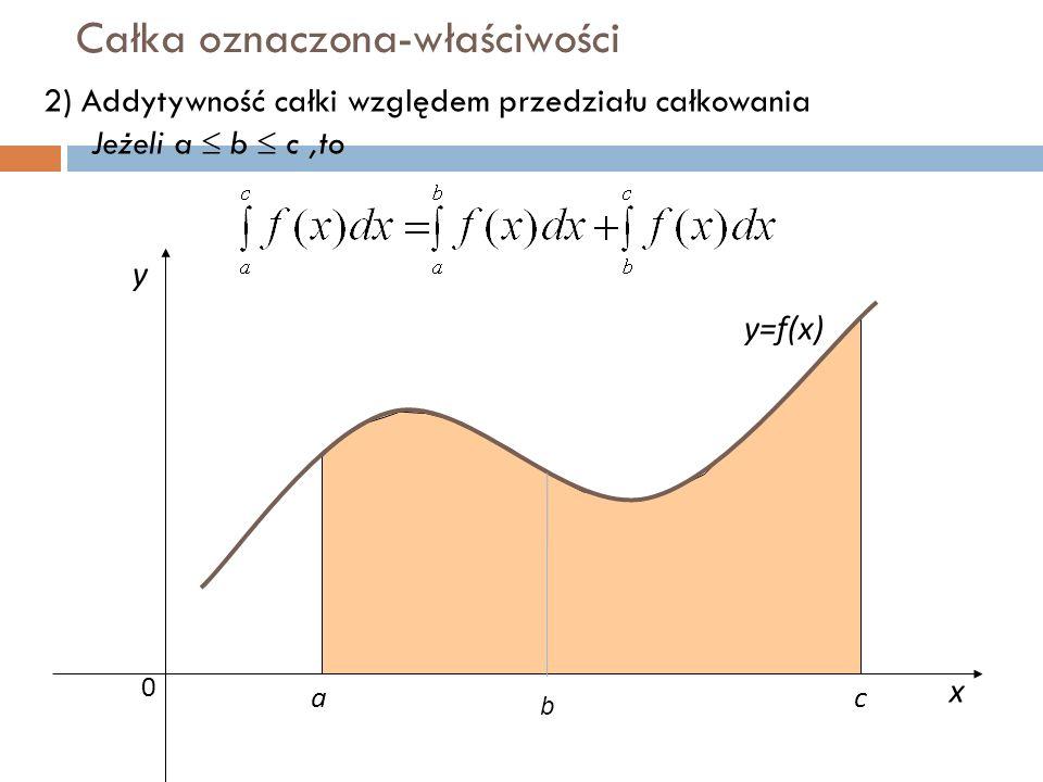 Całka oznaczona-właściwości x y y=f(x) 0 ac 2) Addytywność całki względem przedziału całkowania Jeżeli a  b  c,to b
