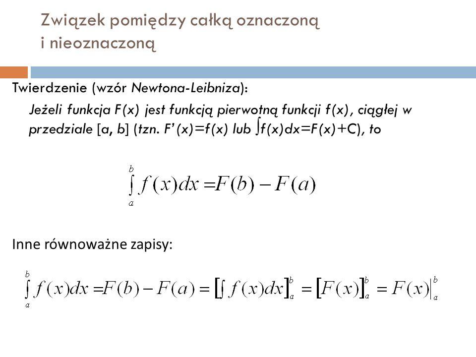 Związek pomiędzy całką oznaczoną i nieoznaczoną Twierdzenie (wzór Newtona-Leibniza): Jeżeli funkcja F(x) jest funkcją pierwotną funkcji f(x), ciągłej w przedziale [a, b] (tzn.