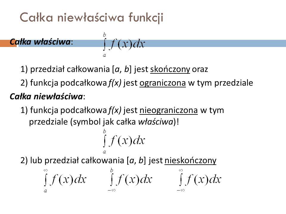 Całka niewłaściwa funkcji Całka właściwa: 1) przedział całkowania [a, b] jest skończony oraz 2) funkcja podcałkowa f(x) jest ograniczona w tym przedziale Całka niewłaściwa: 1) funkcja podcałkowa f(x) jest nieograniczona w tym przedziale (symbol jak całka właściwa).