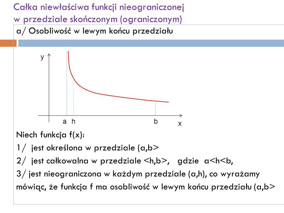 Całka niewłaściwa funkcji nieograniczonej w przedziale skończonym (ograniczonym) a/ Osobliwość w lewym końcu przedziału Niech funkcja f(x): 1/ jest określona w przedziale (a,b> 2/ jest całkowalna w przedziale, gdzie a<h<b, 3/ jest nieograniczona w każdym przedziale (a,h), co wyrażamy mówiąc, że funkcja f ma osobliwość w lewym końcu przedziału (a,b> y x abh