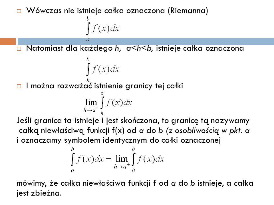  Wówczas nie istnieje całka oznaczona (Riemanna)  Natomiast dla każdego h, a<h<b, istnieje całka oznaczona  I można rozważać istnienie granicy tej całki Jeśli granica ta istnieje i jest skończona, to granicę tą nazywamy całką niewłaściwą funkcji f(x) od a do b (z osobliwością w pkt.