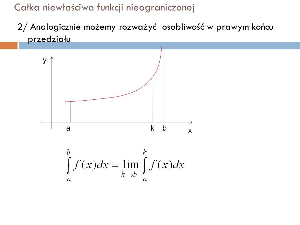 Całka niewłaściwa funkcji nieograniczonej 2/ Analogicznie możemy rozważyć osobliwość w prawym końcu przedziału y x abk