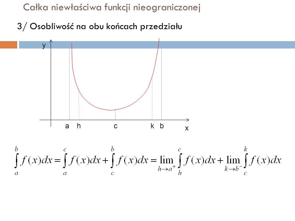 Całka niewłaściwa funkcji nieograniczonej 3/ Osobliwość na obu końcach przedziału y x abhkc