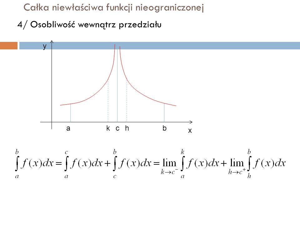 Całka niewłaściwa funkcji nieograniczonej 4/ Osobliwość wewnątrz przedziału y x abhkc