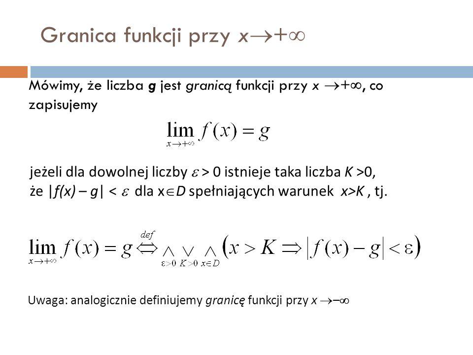 Granica funkcji przy x  +  Mówimy, że liczba g jest granicą funkcji przy x  + , co zapisujemy jeżeli dla dowolnej liczby  > 0 istnieje taka liczba K >0, że |f(x) – g| K, tj.