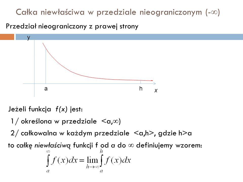 Całka niewłaściwa w przedziale nieograniczonym (-  ) Przedział nieograniczony z prawej strony Jeżeli funkcja f(x) jest: 1/ określona w przedziale <a,  ) 2/ całkowalna w każdym przedziale, gdzie h>a to całkę niewłaściwą funkcji f od a do  definiujemy wzorem: ah x y