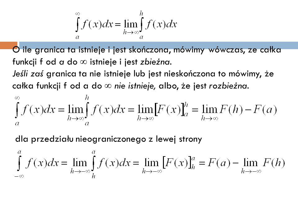 O ile granica ta istnieje i jest skończona, mówimy wówczas, ze całka funkcji f od a do  istnieje i jest zbieżna.