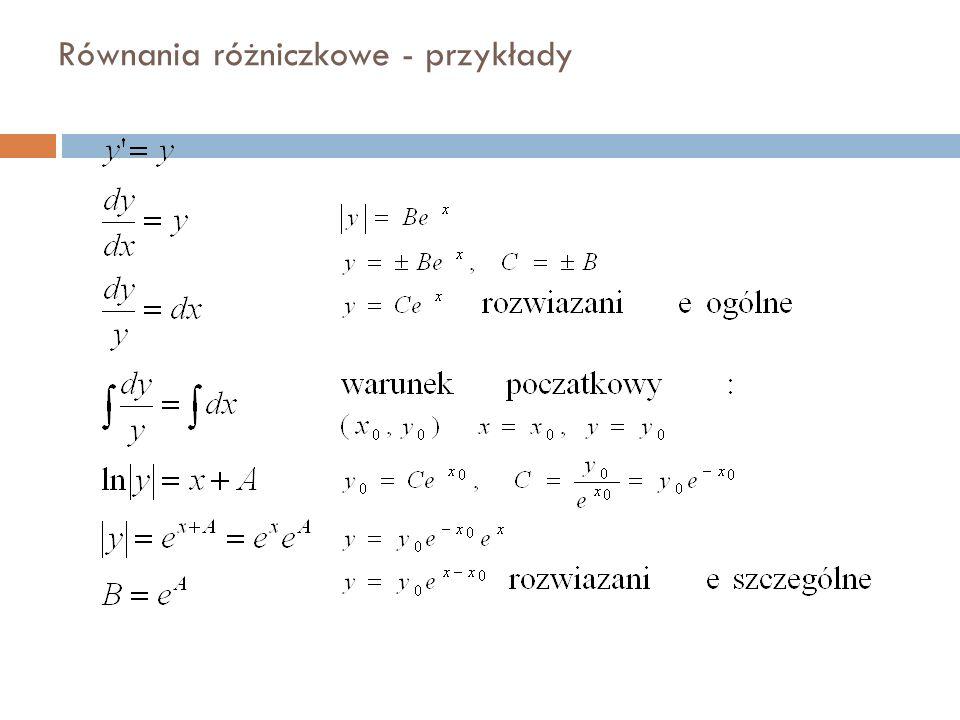 Równania różniczkowe - przykłady