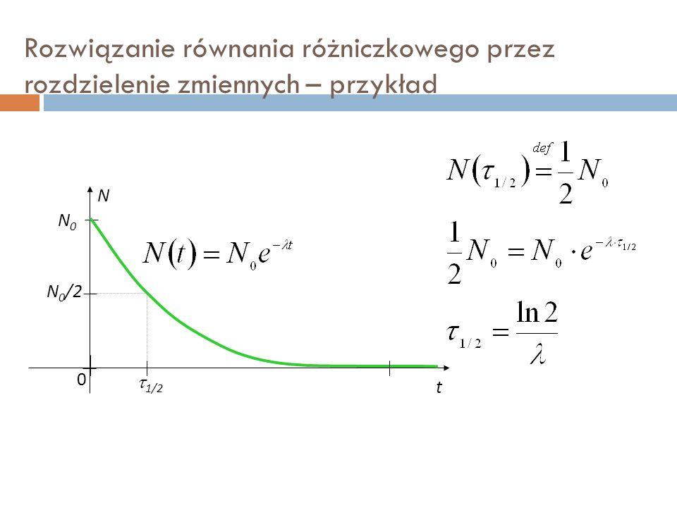 Rozwiązanie równania różniczkowego przez rozdzielenie zmiennych – przykład N N0N0 0 t N 0 /2  1/2