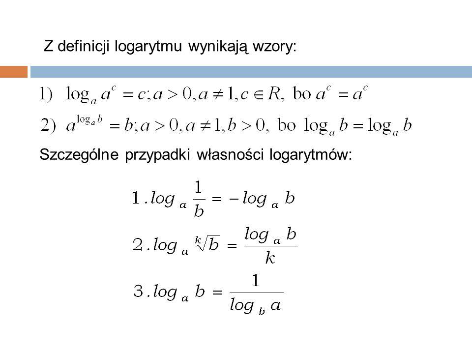 27 Z definicji logarytmu wynikają wzory: Szczególne przypadki własności logarytmów: