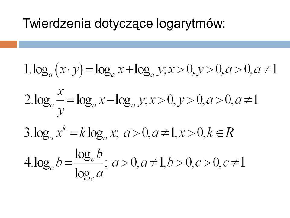 Twierdzenia dotyczące logarytmów: